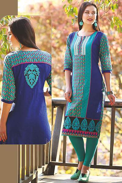 Beautiful Printed Kurti With Embroidery In Teal Green