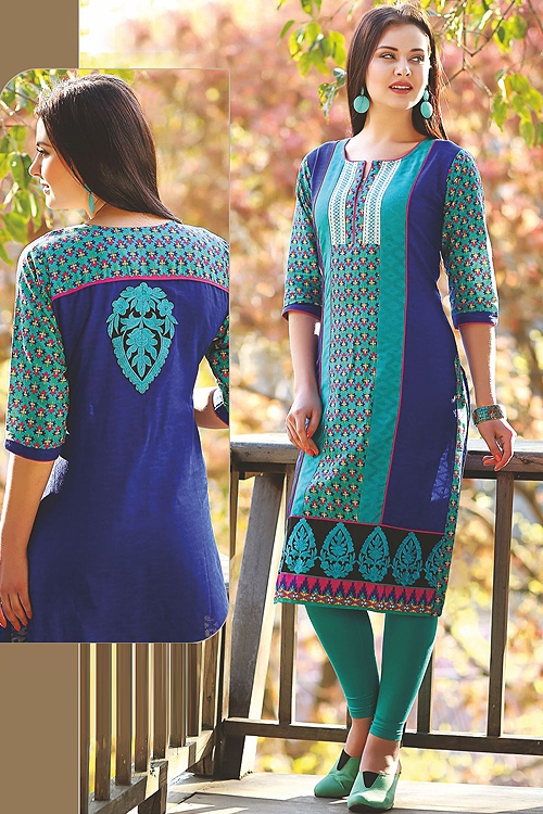 Beautiful Printed Kurti With Embroidery In Teal Blue