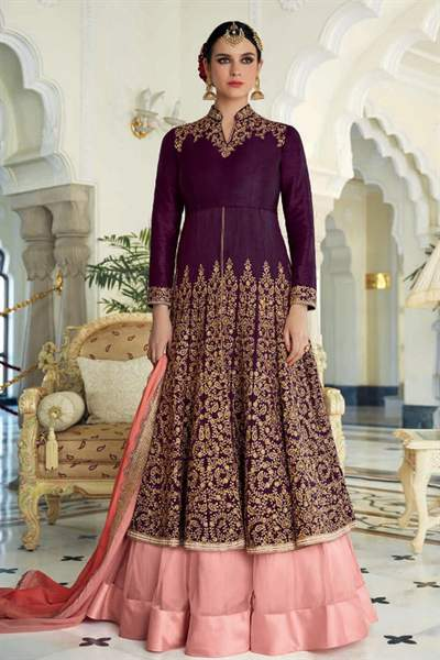 Deep Berry Purple Golden Embroidered Raw Silk Anarkali Suit/Lehenga