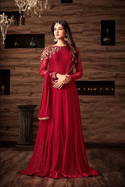 Ravishing Red Rich Zari Embroidery Georgette Designer Anarkali Gown
