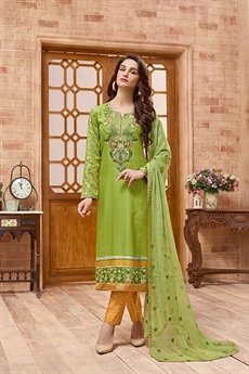 Green and yellow embroidered Salwar Suit with pure chiffon dupatta