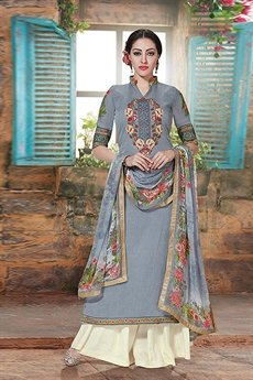 Charming And Beautiful Plazzo Straight Cut Suit With Printed Dupatta In Grey