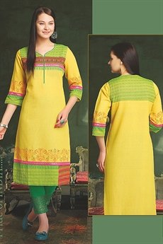 Elegant Cotton Kurti In Yellow