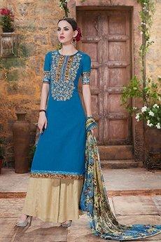Charming And Beautiful Palazzo Straight Cut Suit With Printed Dupatta In True Blue