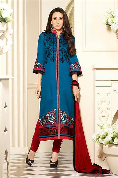 Peacock Blue Printed Cotton Salwar Kameez By Karishma