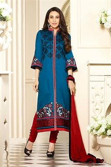 Peacock Blue Printed Cotton Slik Salwar Kameez By Karishma