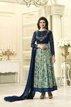 Glam Navy blue Floral Anarkali Suit