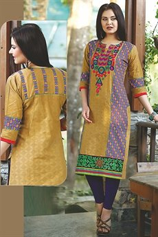 Beautiful Printed Kurti With Embroidery In Mustard