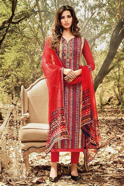 Beautiful Smart Red Printed Cotton Suit