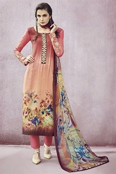 Peach lawn Printed Straight Cut Salwar Suit