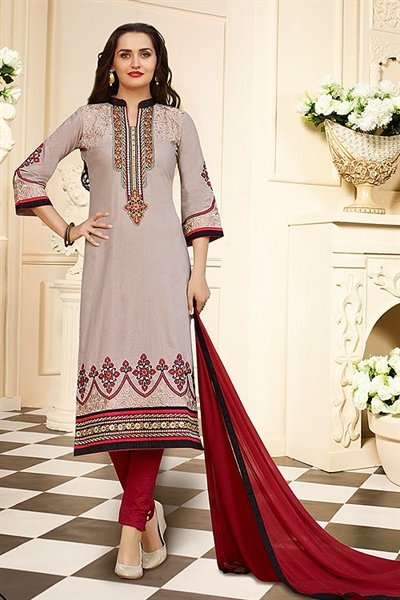 Beige Printed Cotton Salwar Kameez By Karishma