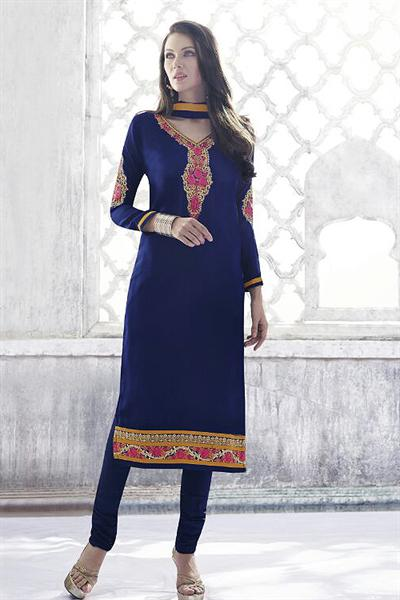 Royal Blue Thread Embroidered Georgette Straight Cut Churidar Suit