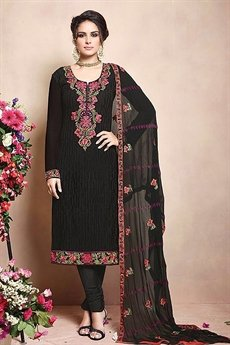 Sanskruti Sheel Pure Georgette Suits With Heavy Embroidery Black