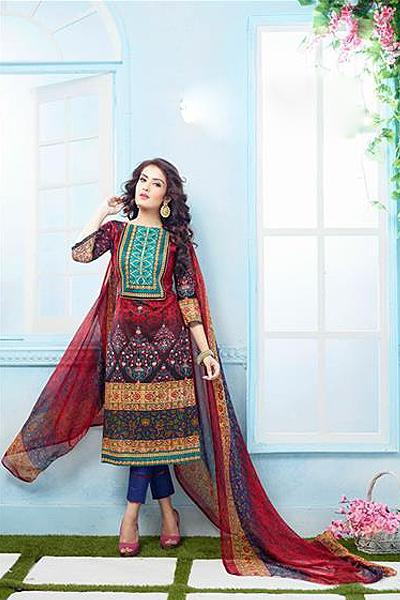 Beautiful Casual Wear Printed Straight Cut Red Color Suit
