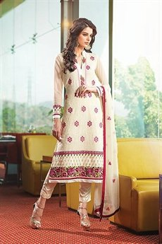 Smoke White Pure Georgette Salwar Suits With Embroidery