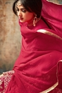 Ruby Red Reflective Designer Anarkali Suit With Embroidery In Silk
