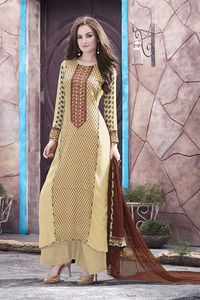 Greenish Beige Printed Georgette Palazzo Suit With Brown Dupatta