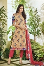 Cream Printed Pure Georgette Straight Cut Salwar Suit