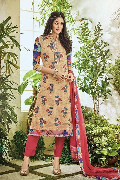 Cream Pure Georgette Printed Straight Cut Salwar Suit