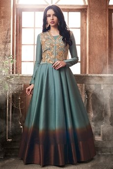 Grey Brown Shaded Tussar Silk Anarkali Gown With Sequins Embroidered Jacket