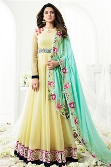 Light Pastel Yellow Floor Length Floral Thread Embroidered Anarkali Suit