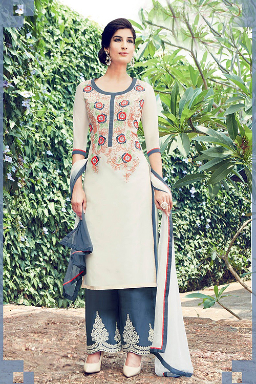White Embroidered Cotton Satin Palazzo Kameez Suit