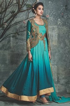 Teal green ombre embellished Anarkali suit