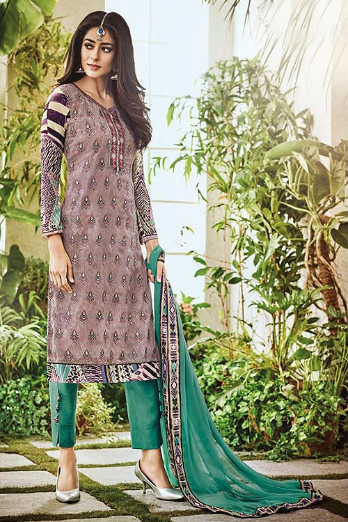 Purple Omtex Aroma Pure Georgette Printed Straight Cut Suit