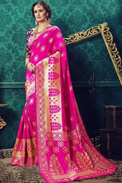 Pop Pink Art Silk Designer Saree