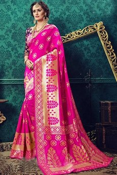 Pop Pink Art Silk Saree