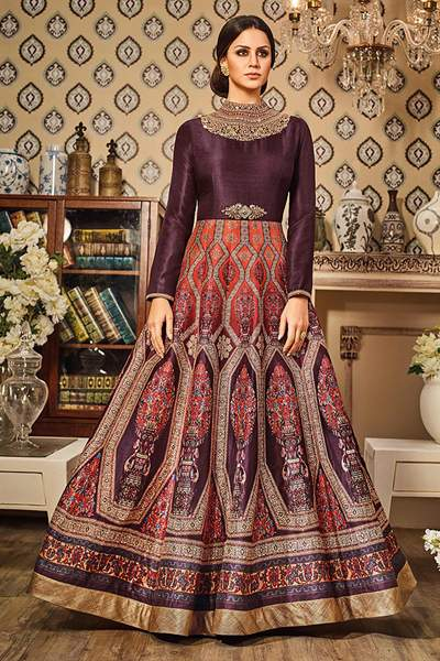 Marsala Wine Purple Printed Silk Gown With Choker Neck