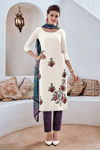Bahni Elena White Embroidered Designer Cotton Jacquard Salwar Suit
