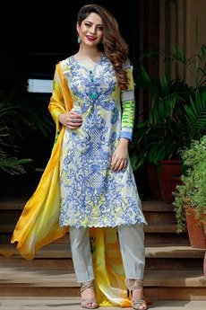 Bollywood Blue And Yellow Printed Suit