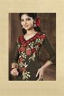 Dark Brown & Red Embroidered Chanderi Cotton Salwar Suits