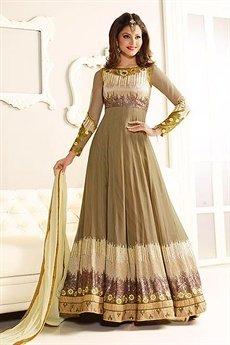 Gorgeous Olive and Ivory Designer Anarkali suit