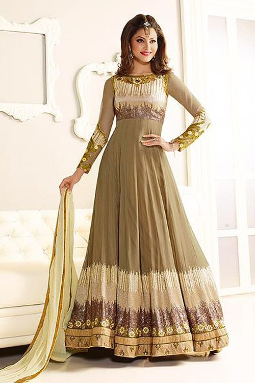 Gorgeous Olive and Ivory Designer Anarkali suit
