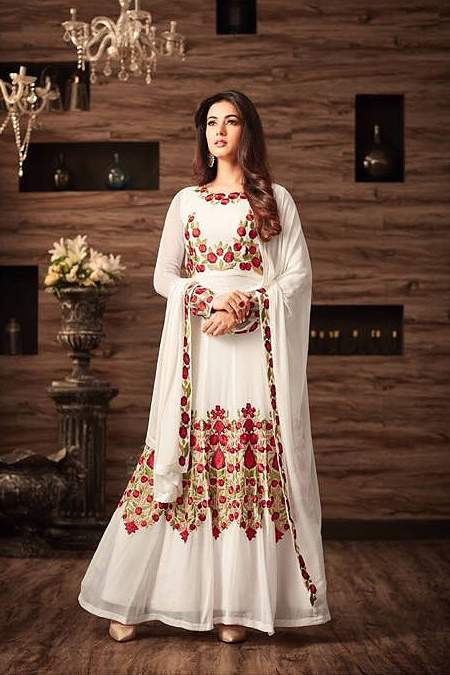 Off-White Floral Embroidered Anarkali