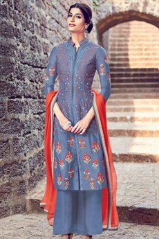 Embroidered Palazzo Suit Lavender Blue
