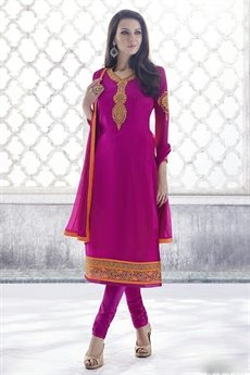 Magenta Color Thread Embroidered Georgette Straight Cut Style Salwar/ Churidar Suit
