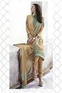 Sandy Brown Thread Embroidered Georgette Straight Style Salwar/ Churidar Suit