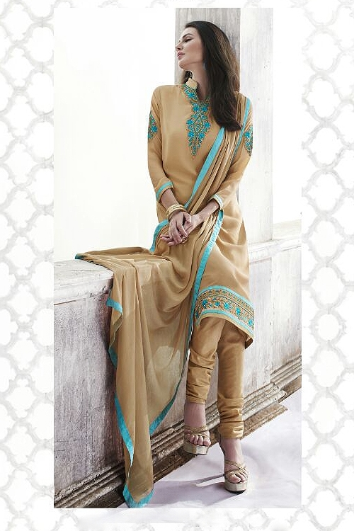 Sandy Brown Georgette Straight style Salwar/ Churidar Suit