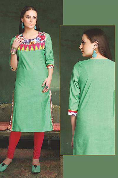 Elegant Cotton Kurti In Pastel Green
