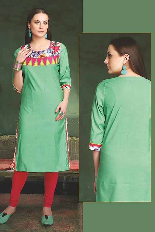 Elegant Cotton Kurti In Green