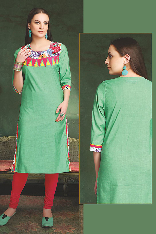 Elegant Cotton Kurti In Pastel Green