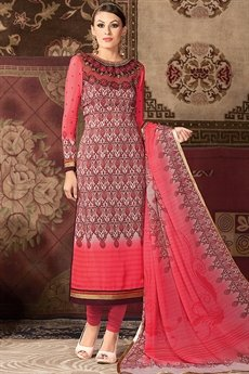 Pink Printed straight long Salwar suit