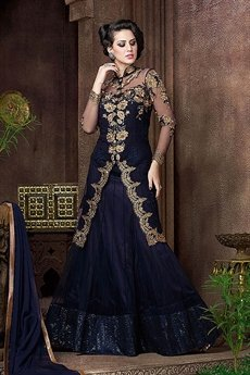 Blue Violet Heavy Embroidery Anarkali Suits