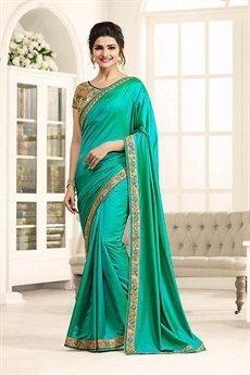 Turquoise Stunning Silky Satin Saree
