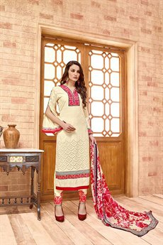 Beige Embroidered Salwar Suit in Cotton Satin with Chiffon Dupatta