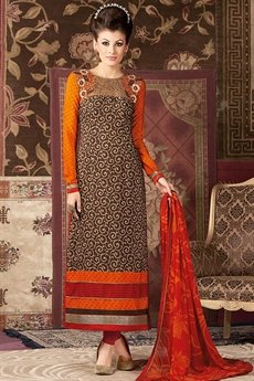 Chocolate Brown with Orange and red printed straight long Salwar suit