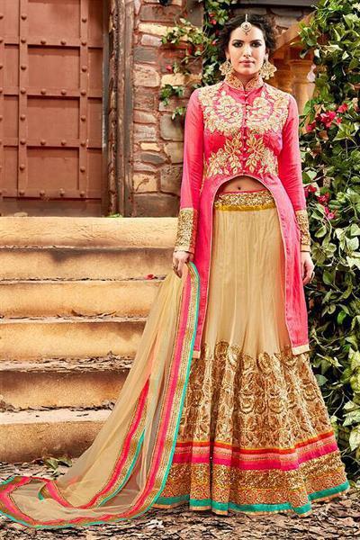 Glam Reddish Pink and Beige Heavy Embroidered Net Designer Lehenga